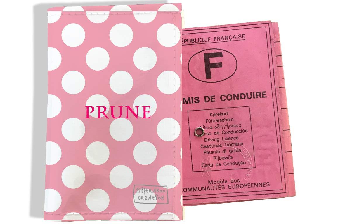 Protège permis de conduire personnalisé pour femme motif Pois blancs fond rose P2070