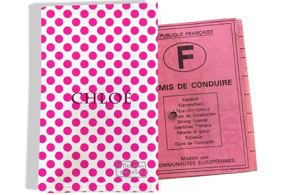 Protège permis de conduire personnalisé pour femme motif Pois fushia P716