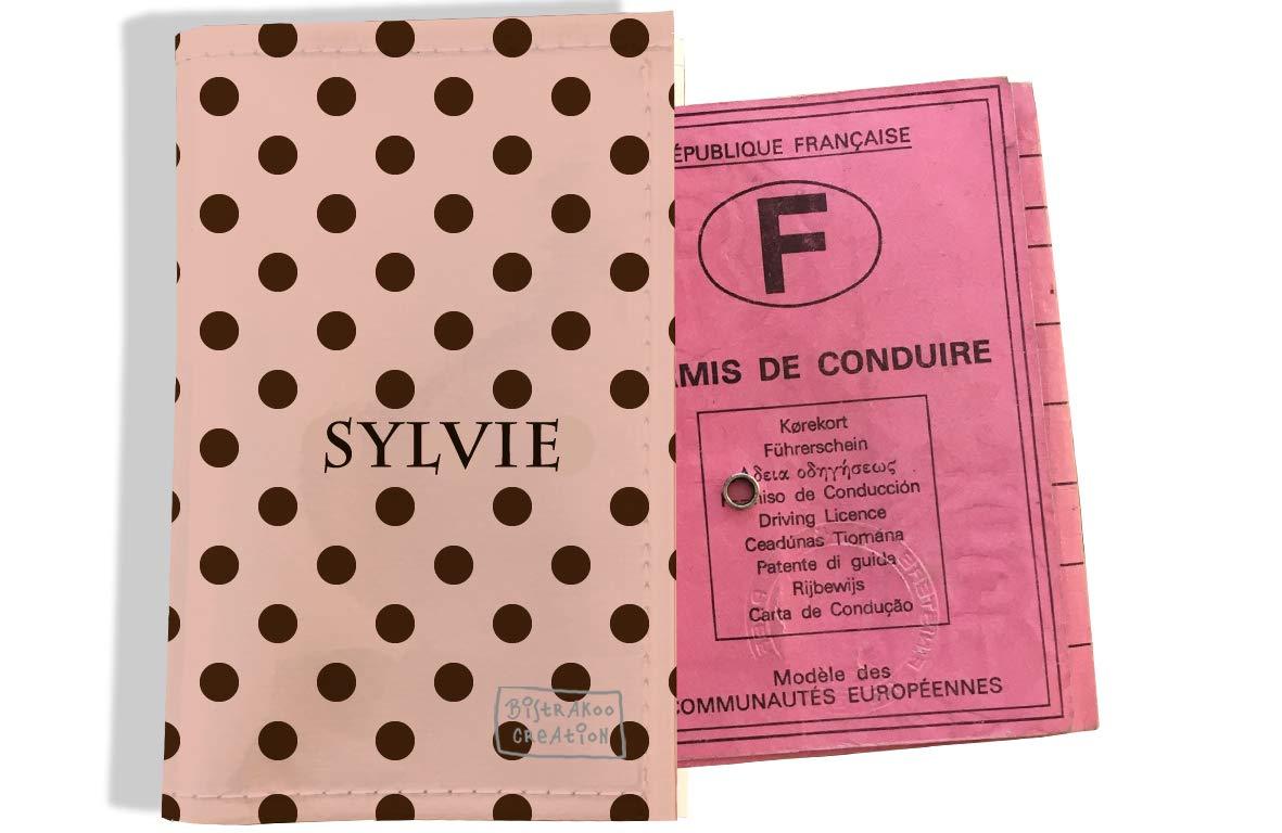 Protège permis de conduire personnalisé pour femme motif Pois marrons fond crème P2059