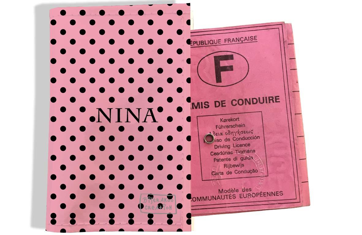Protège permis de conduire personnalisé pour femme motif Pois noirs fond rose P2061
