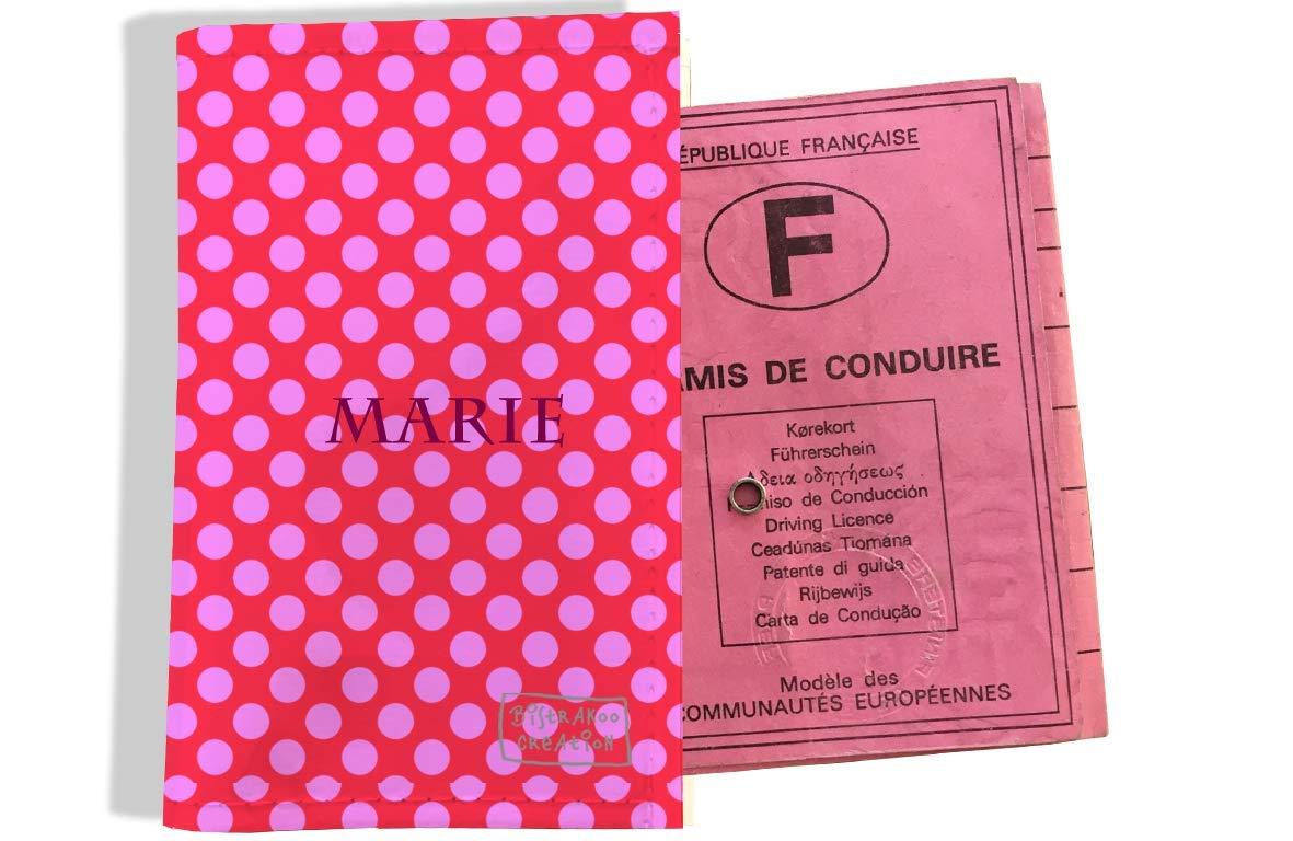 Protège permis de conduire personnalisé pour femme motif Pois roses fond fushia P715