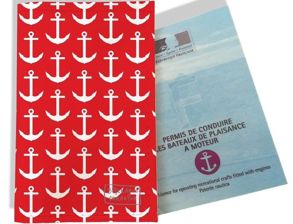 Porte permis bateau, protège permis bateau motif Ancres blanches fond rouge 2121