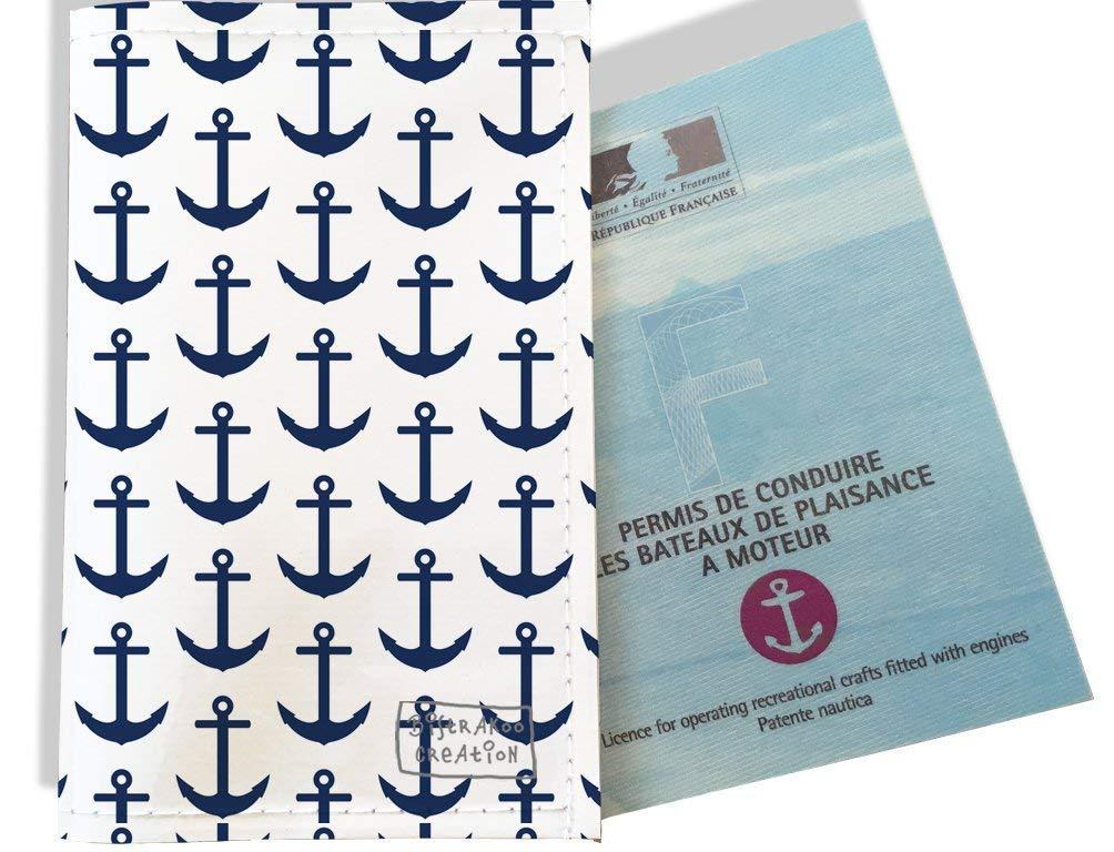 Porte permis bateau, protège permis bateau motif Ancres bleu marine fond blanc 2127
