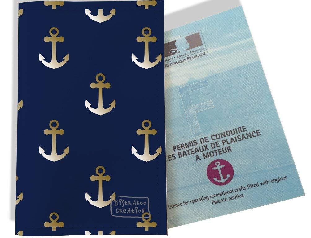 Porte permis bateau, protège permis bateau motif Ancres fond bleu marine 2106