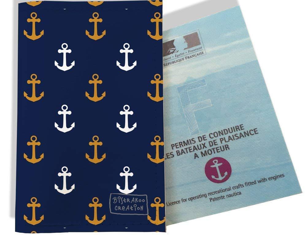Porte permis bateau, protège permis bateau motif Ancres rouille et blanc fond bleu marine 2103