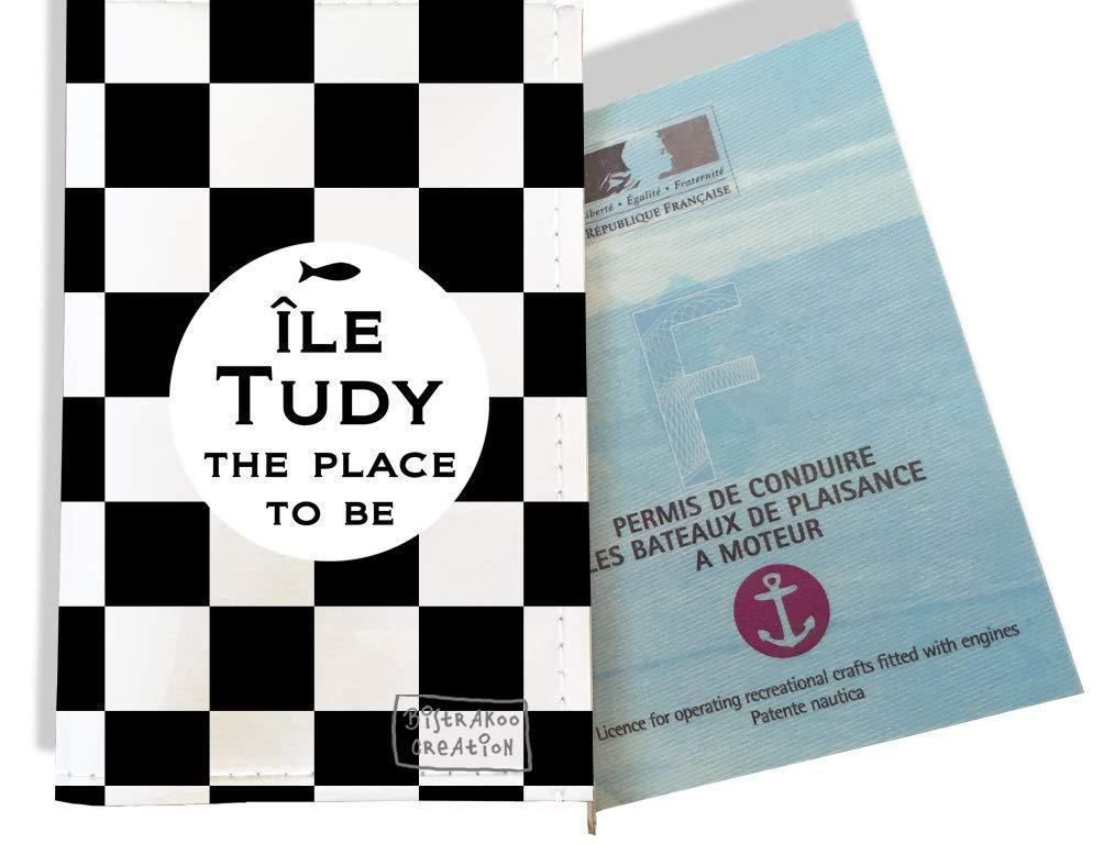 Porte permis bateau, protège permis bateau motif Damiers noirs et blancs - Ile Tudy