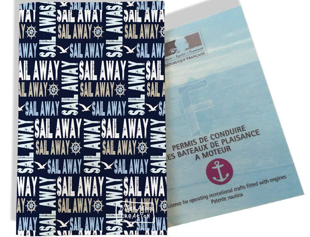 Porte permis bateau, protège permis bateau motif Ecriture mer océan fond bleu marine 2142