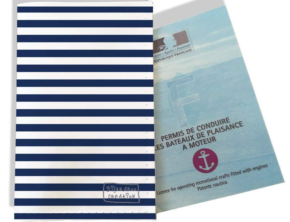 Porte permis bateau, protège permis bateau motif Marinière bleu marine 2131