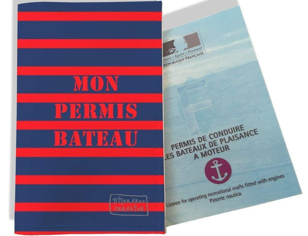 Porte permis bateau, protège permis bateau motif Marinière bleue et rouge 1519
