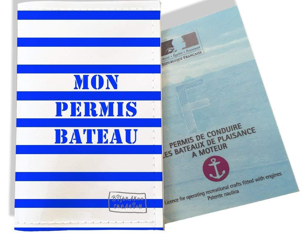 Porte permis bateau, protège permis bateau motif Marinière bleue 1725