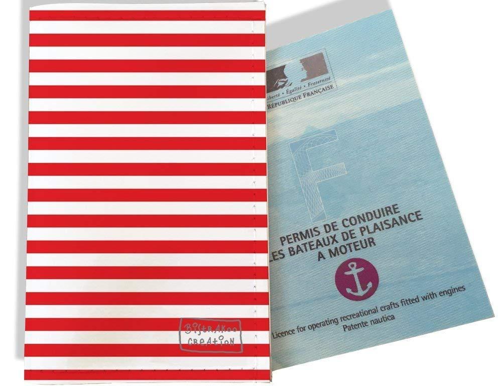 Porte permis bateau, protège permis bateau motif Marinière rouge 2124