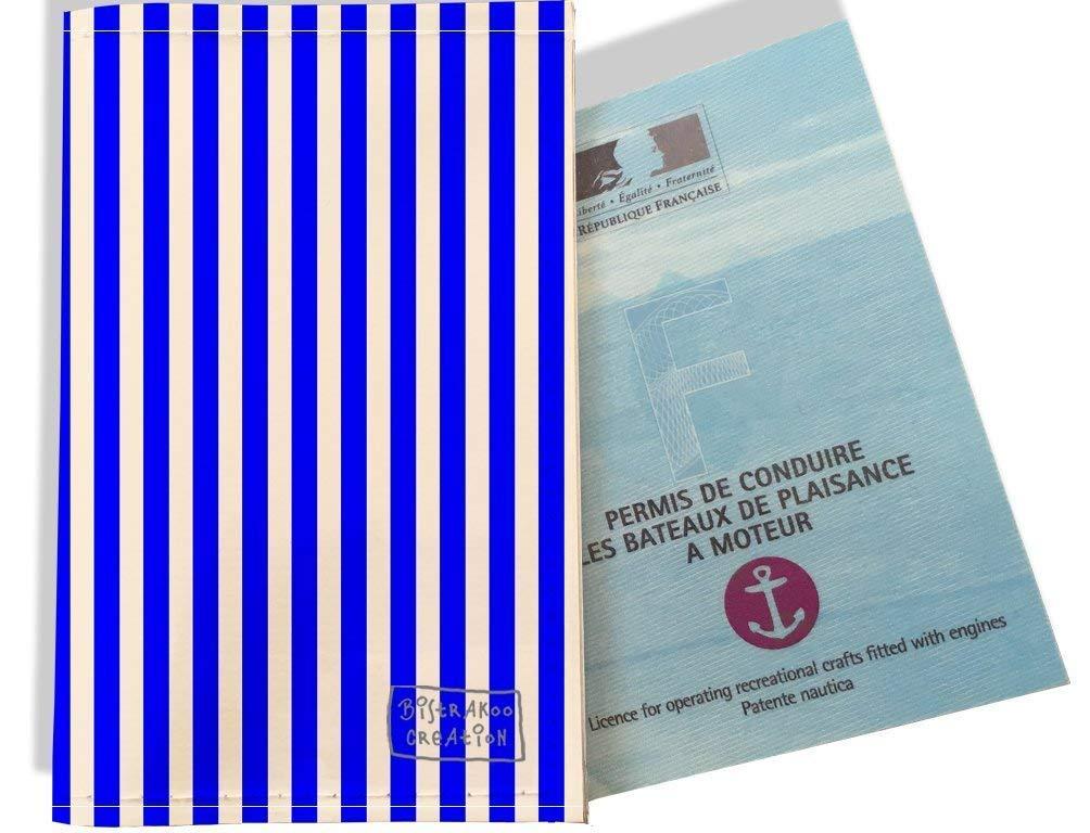 Porte permis bateau, protège permis bateau motif Marinière verticale Bleu 2383