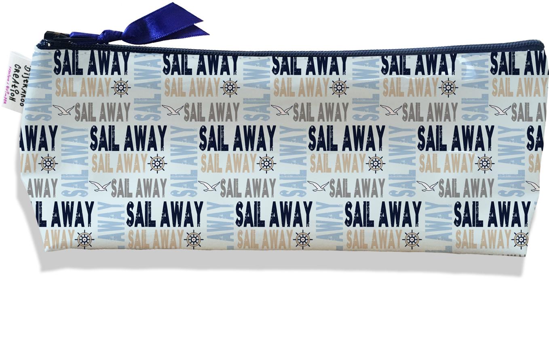 Trousse scolaire, Trousse d\'école, Trousse à Crayons motif Ecritures Sail away bleues 2136