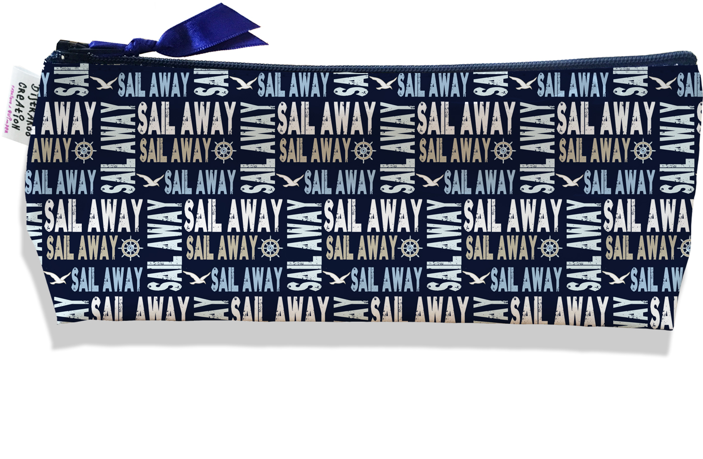 Trousse scolaire, Trousse d\'école, Trousse à Crayons motif Ecritures Sail away multicolore fond bleu marine 2142