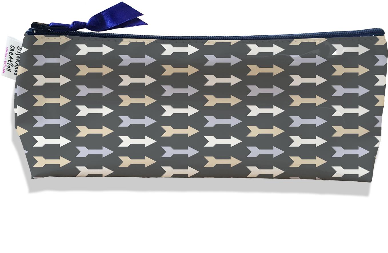 Trousse scolaire, Trousse d\'école, Trousse à Crayons motif Flèches multicolores fond gris 2110