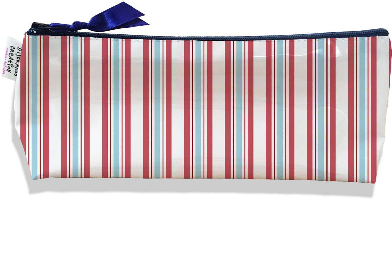 Trousse scolaire, Trousse d\'école, Trousse à Crayons motif Lignes verticales bleues et roses 2144