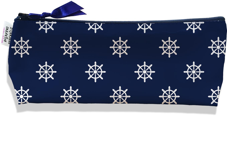 Trousse scolaire, Trousse d\'école, Trousse à Crayons motif Marin blanc fond bleu marine 2097
