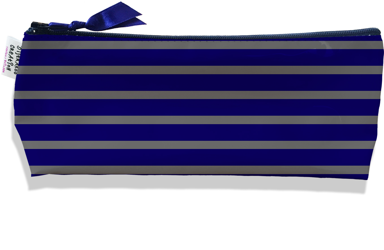 Trousse scolaire, Trousse d\'école, Trousse à Crayons motif Marinière bleu marine et grise 2174