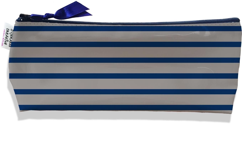 Trousse scolaire, Trousse d\'école, Trousse à Crayons motif Marinière bleu marine et griss 2172