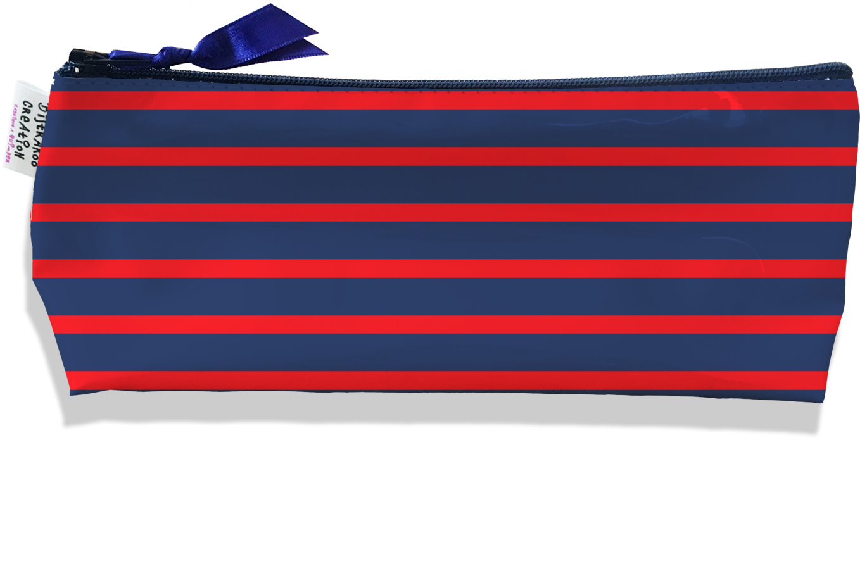 Trousse scolaire, Trousse d\'école, Trousse à Crayons motif Marinière bleu marine et rouge 2170