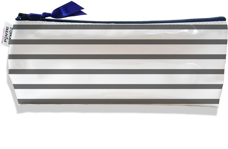 Trousse scolaire, Trousse d\'école, Trousse à Crayons motif Marinière grise 2175