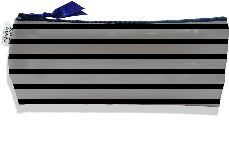 Trousse scolaire, Trousse d\'école, Trousse à Crayons motif Marinière noire et grise 2173