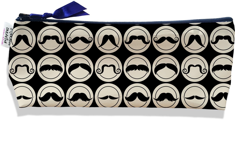 Trousse scolaire, Trousse d\'école, Trousse à Crayons motif Moustaches fond noir 2154