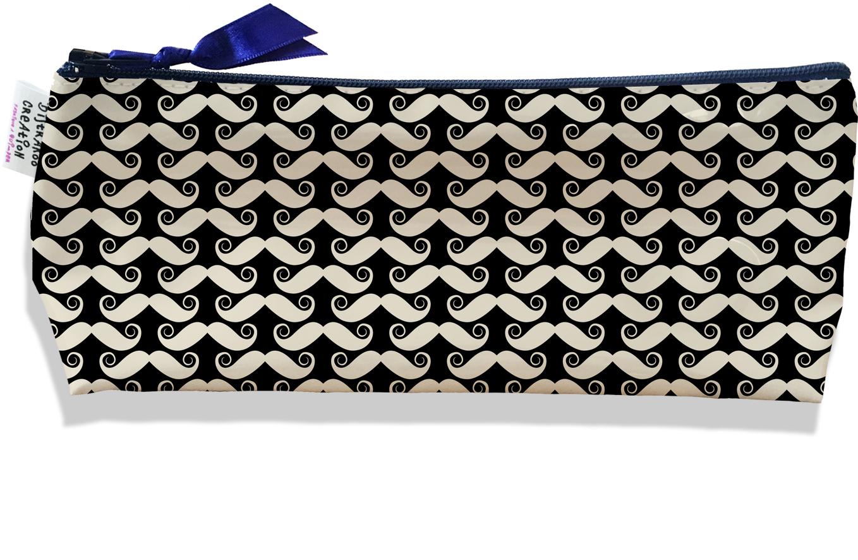 Trousse scolaire, Trousse d\'école, Trousse à Crayons motif Moustaches fond noir 2155