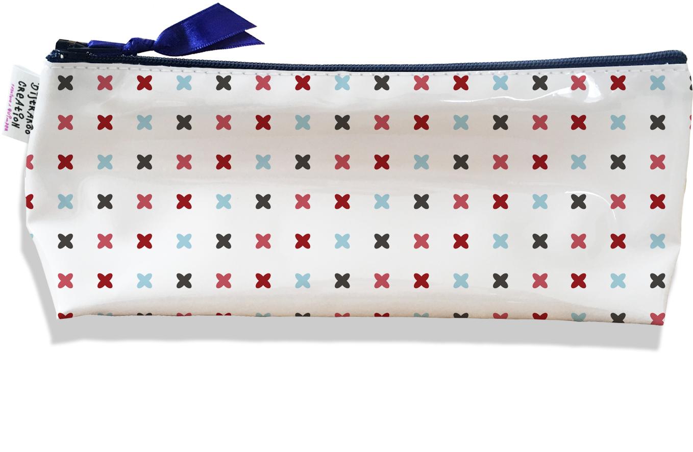Trousse scolaire, Trousse d\'école, Trousse à Crayons motif Petites croix multicolores 2150
