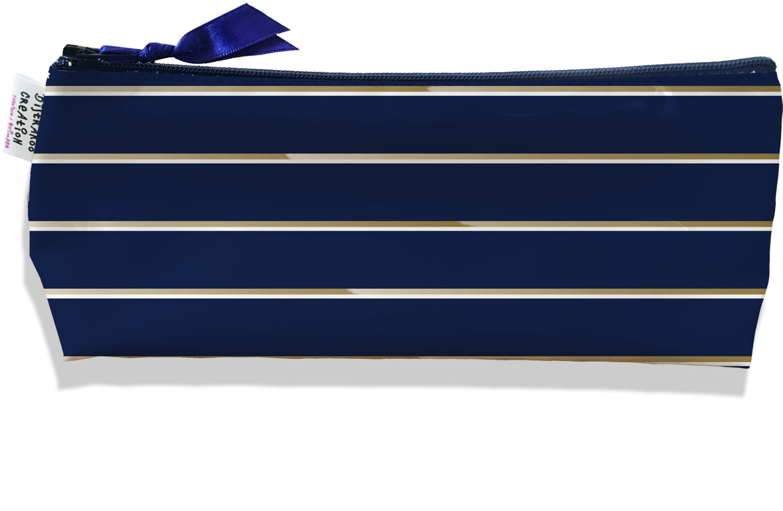 Trousse scolaire, Trousse d\'école, Trousse à Crayons motif Petites Lignes blanches et marrons fond bleu marine 2100