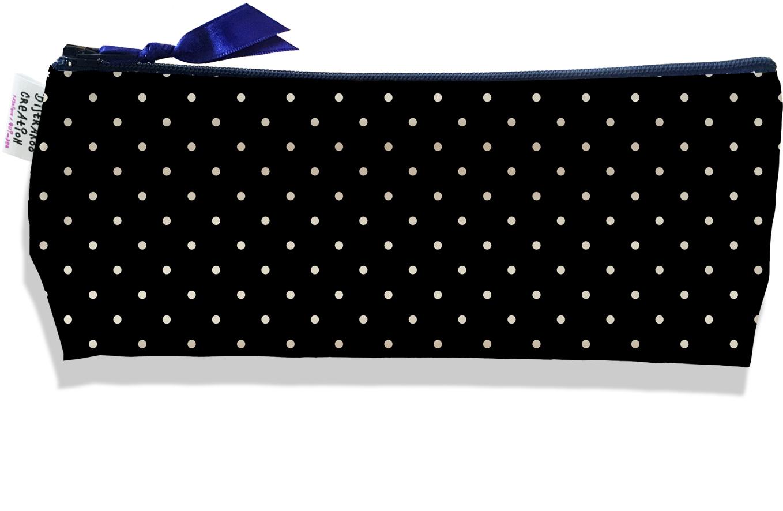 Trousse scolaire, Trousse d\'école, Trousse à Crayons motif Petits Pois blancs fond noir 2157