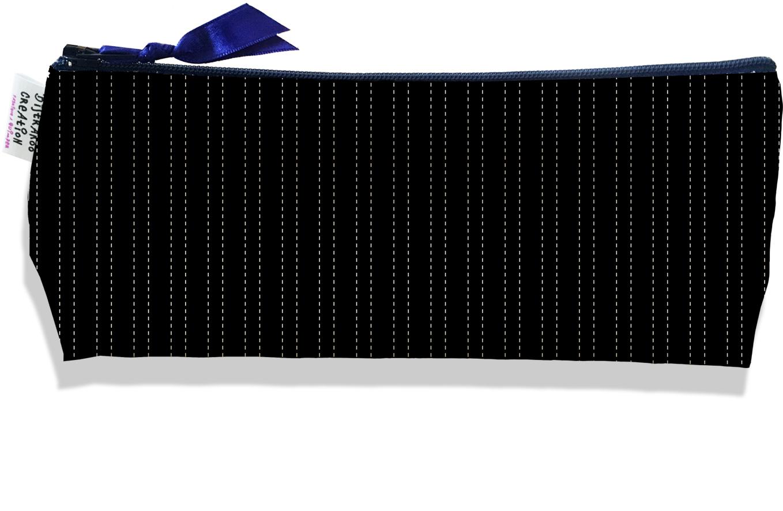 Trousse scolaire, Trousse d\'école, Trousse à Crayons motif Pointillés blancs fond noir 2158