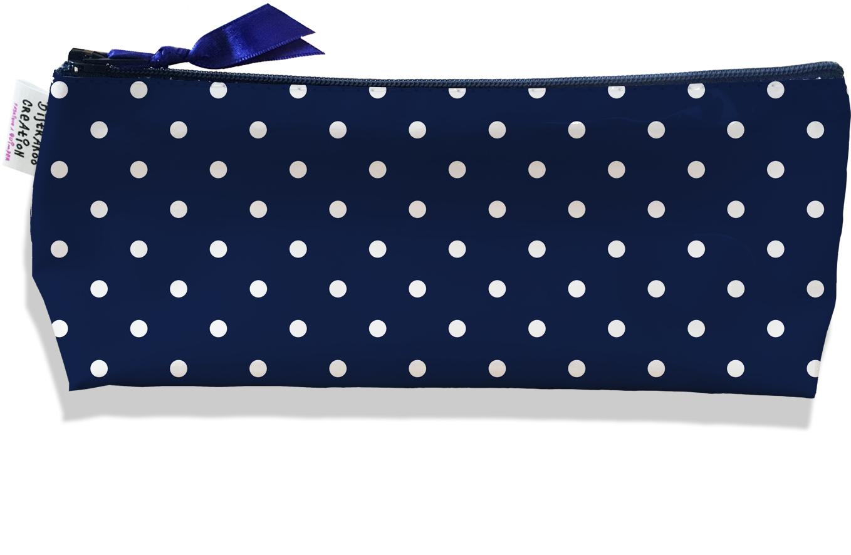 Trousse scolaire, Trousse d\'école, Trousse à Crayons motif Pois blancs fond bleu marine 2099