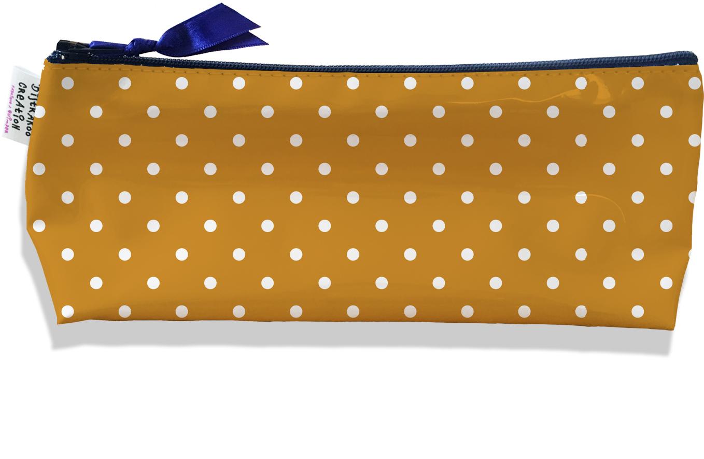 Trousse scolaire, Trousse d\'école, Trousse à Crayons motif Pois blancs fond marron 2096