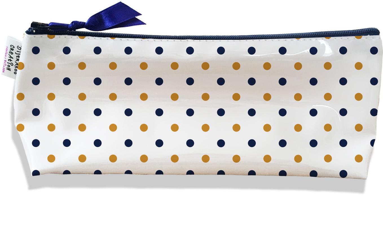 Trousse scolaire, Trousse d\'école, Trousse à Crayons motif Pois marrons et bleu marine 2105