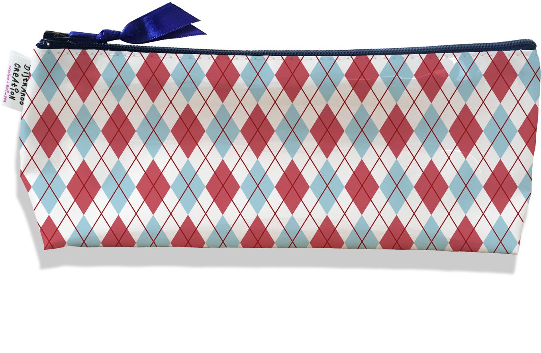 Trousse scolaire, Trousse d\'école, Trousse à Crayons motif Tartan rose et bleu 2147