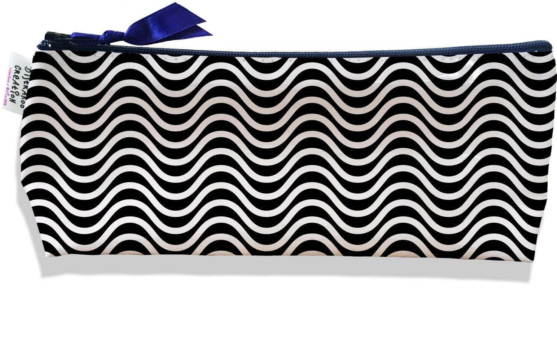 Trousse scolaire, Trousse d\'école, Trousse à Crayons motif Vagues blanches fond noir 2167