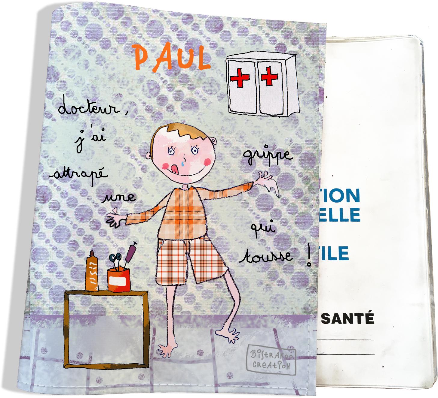 Protège carnet de santé personnalisé bébé garçon motif docteur, j\'ai attrapé une grippe qui tousse