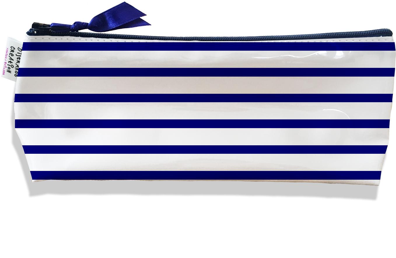 Trousse scolaire, Trousse d\'école, Trousse à Crayons ou Maquillage Marinière bleu marine Réf. 1824