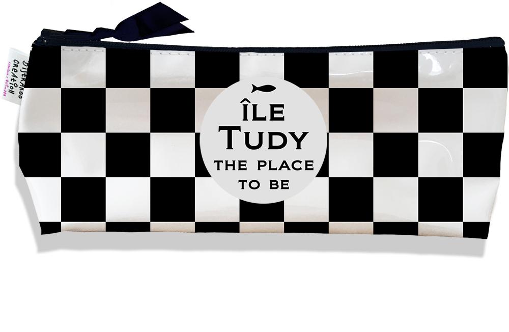 Trousse scolaire, Trousse d\'école, Trousse à Crayons motif Damiers noirs et blancs - Ile Tudy