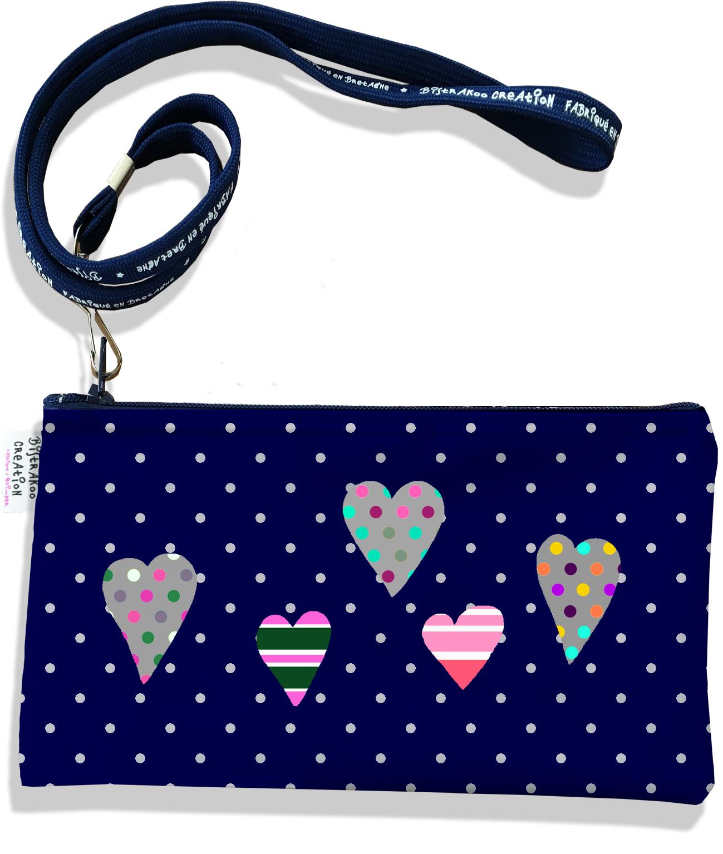 Pochette smartphone 5 & 6 pouces femme motif Coeurs multicolores fond bleu marine pois gris 3275