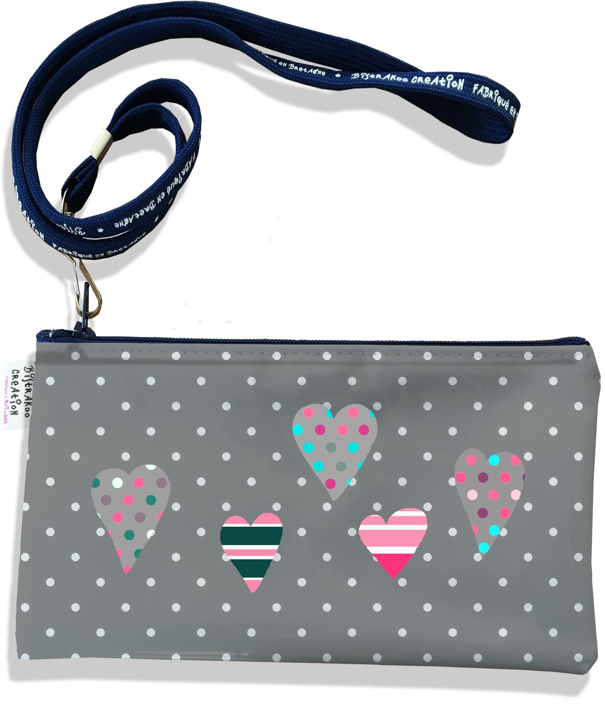 Pochette smartphone 5 & 6 pouces femme motif Coeurs multicolores fond gris 3276