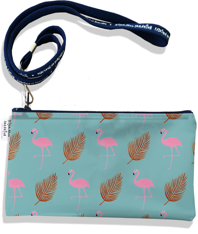 Pochette smartphone 5 & 6 pouces femme motif Flamants roses et plumes fond bleu 3219