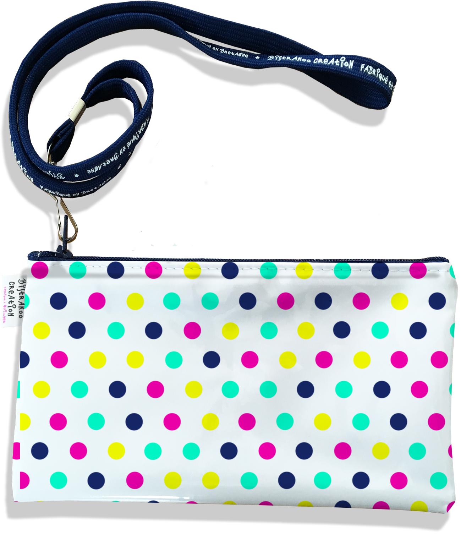 Pochette smartphone 5 & 6 pouces femme motif Pois multicolores 2421