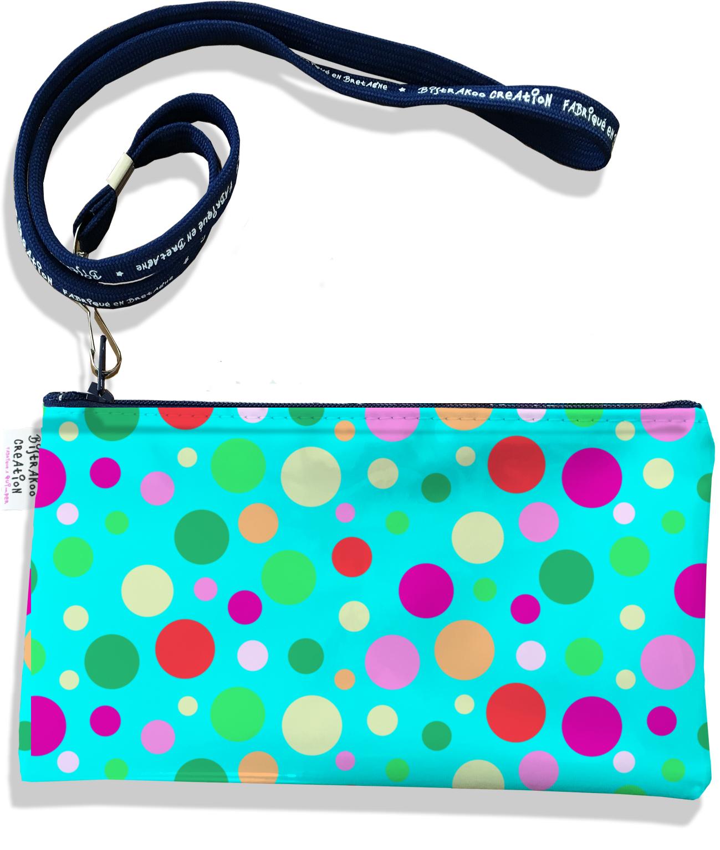 Pochette smartphone 5 & 6 pouces femme motif Pois multicolores fond bleu 3125