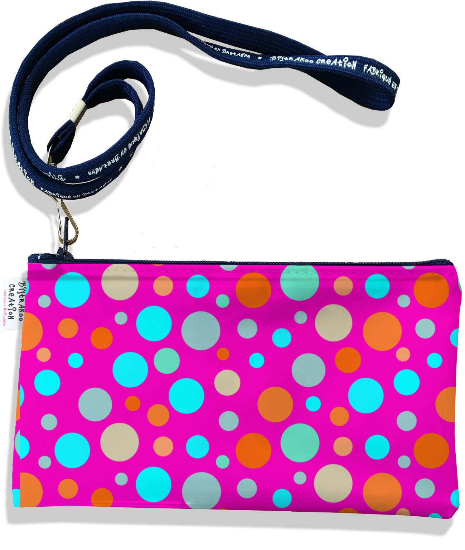 Pochette smartphone 5 & 6 pouces femme motif Pois multicolores fond fushia 3124