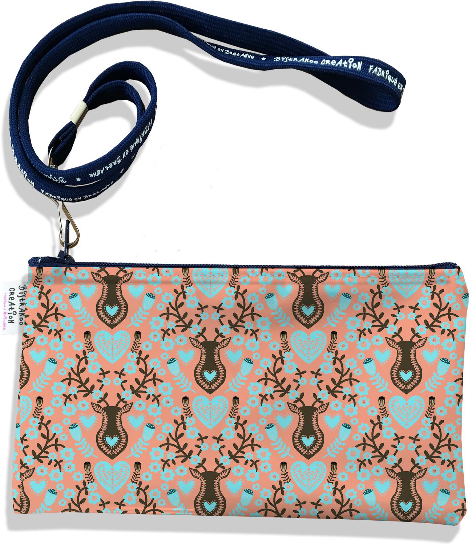 Pochette smartphone 5 & 6 pouces femme motif Scandinave orange et marron 3230