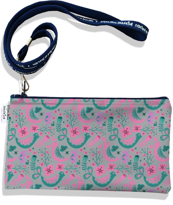 Pochette smartphone 5 & 6 pouces femme motif Scandinave verte et rose 3231