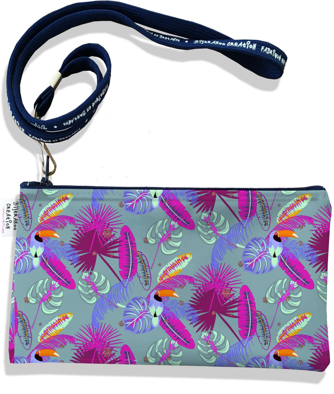 Pochette smartphone 5 & 6 pouces femme motif Toucan fond gris 2547