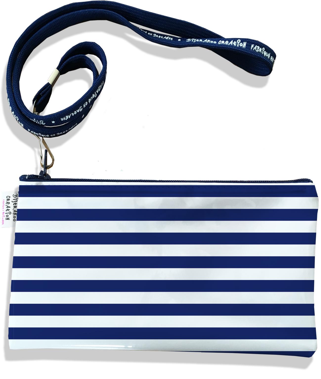 Pochette smartphone 5 & 6 pouces femme motif Marinière bleu marine 2377